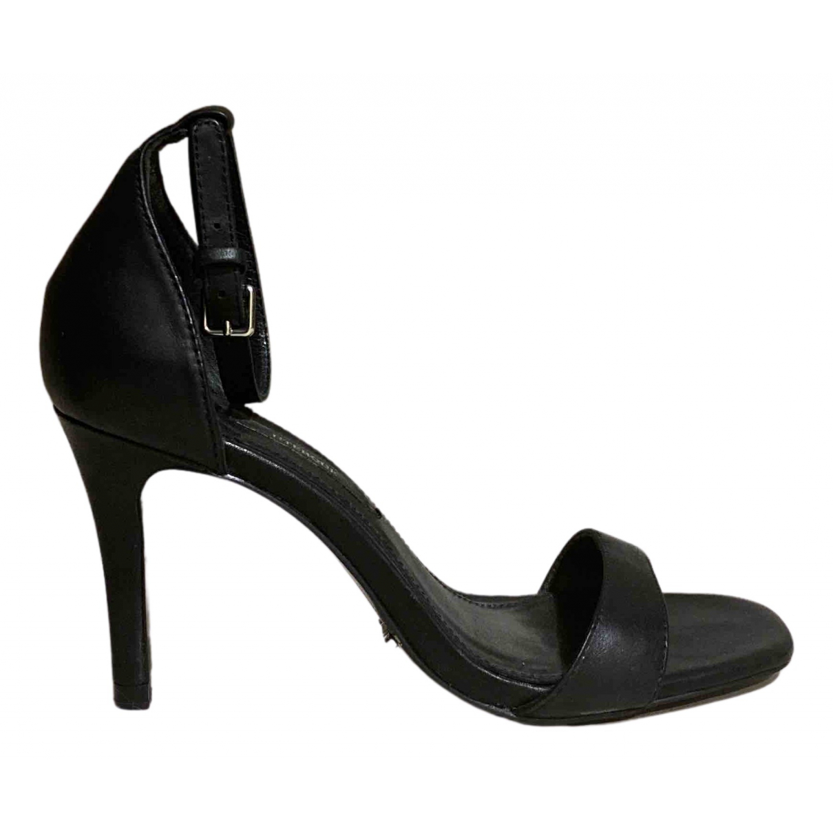 Uterque N Black Leather Sandals for Women 36 EU