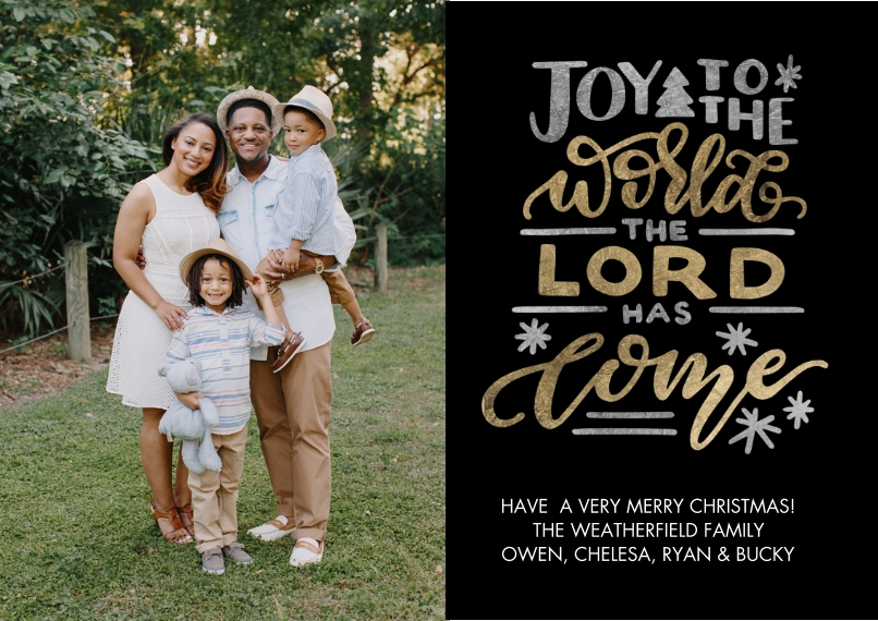 Christmas Photo Cards Flat Matte Photo Paper Cards with Envelopes, 5x7, Card & Stationery -Christmas Joy Hand Lettered by Tumbalina