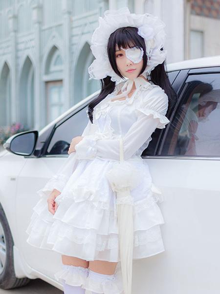 Milanoo Date A Live Tokisaki Kurumi Halloween Cosplay Costume White Gothic Lolita One Piece Dress