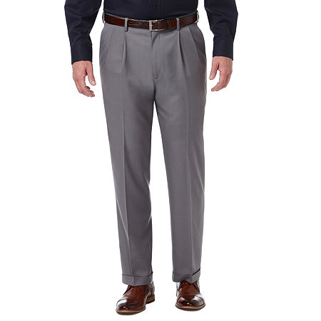 Haggar Premium Comfort Dress Pant Classic Fit Pleated, 34 29, Silver