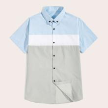 Maenner Hemd mit Cut And Sew