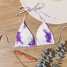 Dreieckiger Bikini Top mit Batik und Neckholder