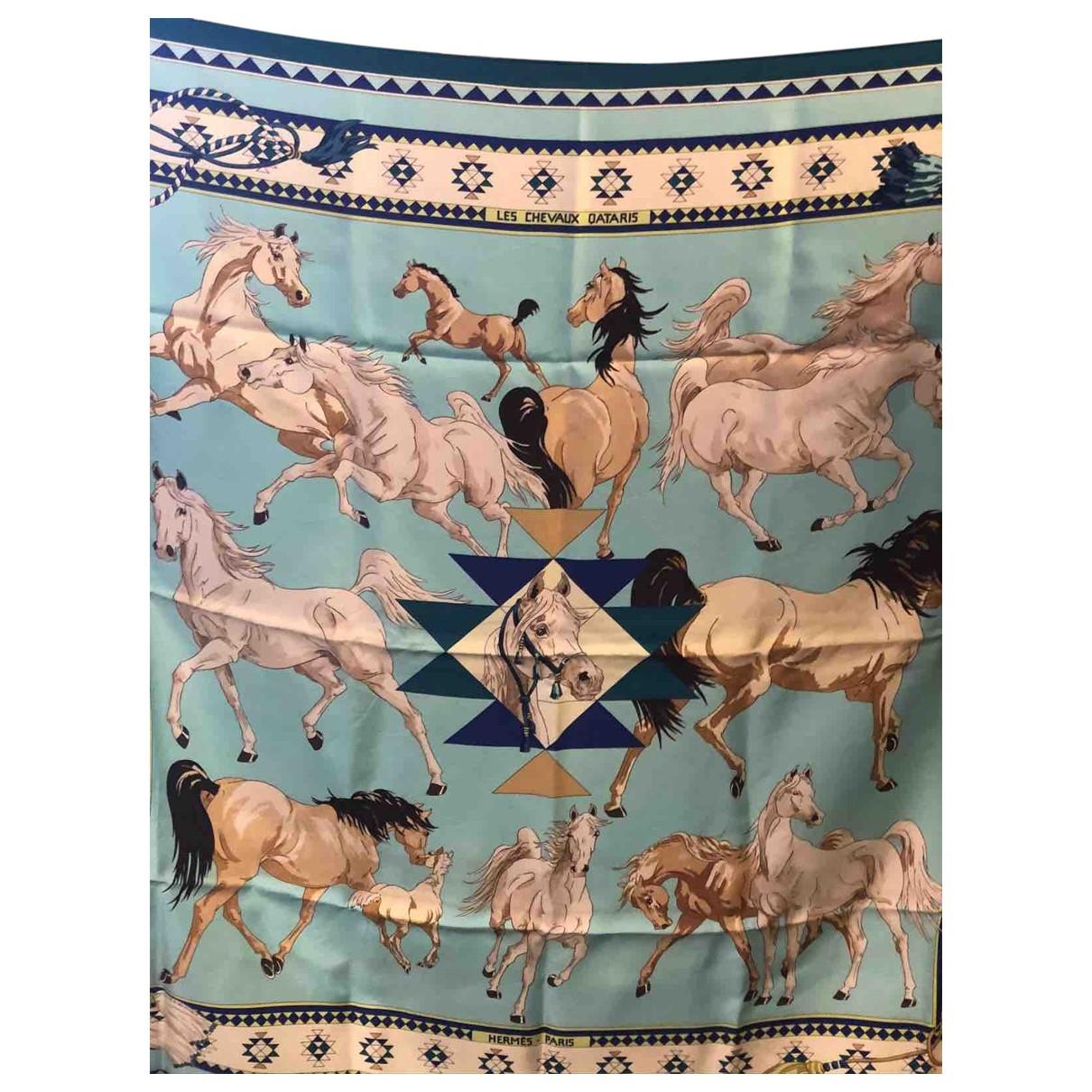 Hermès \N Turquoise Silk scarf for Women \N