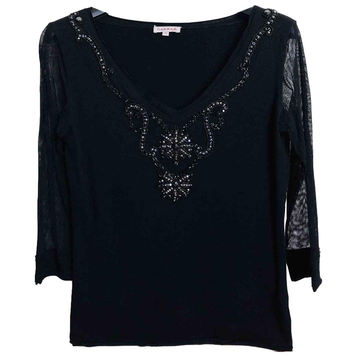Parosh - Top   pour femme en coton - noir