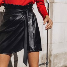 Paperbag Waist Belted Wrap PU Leather Skirt