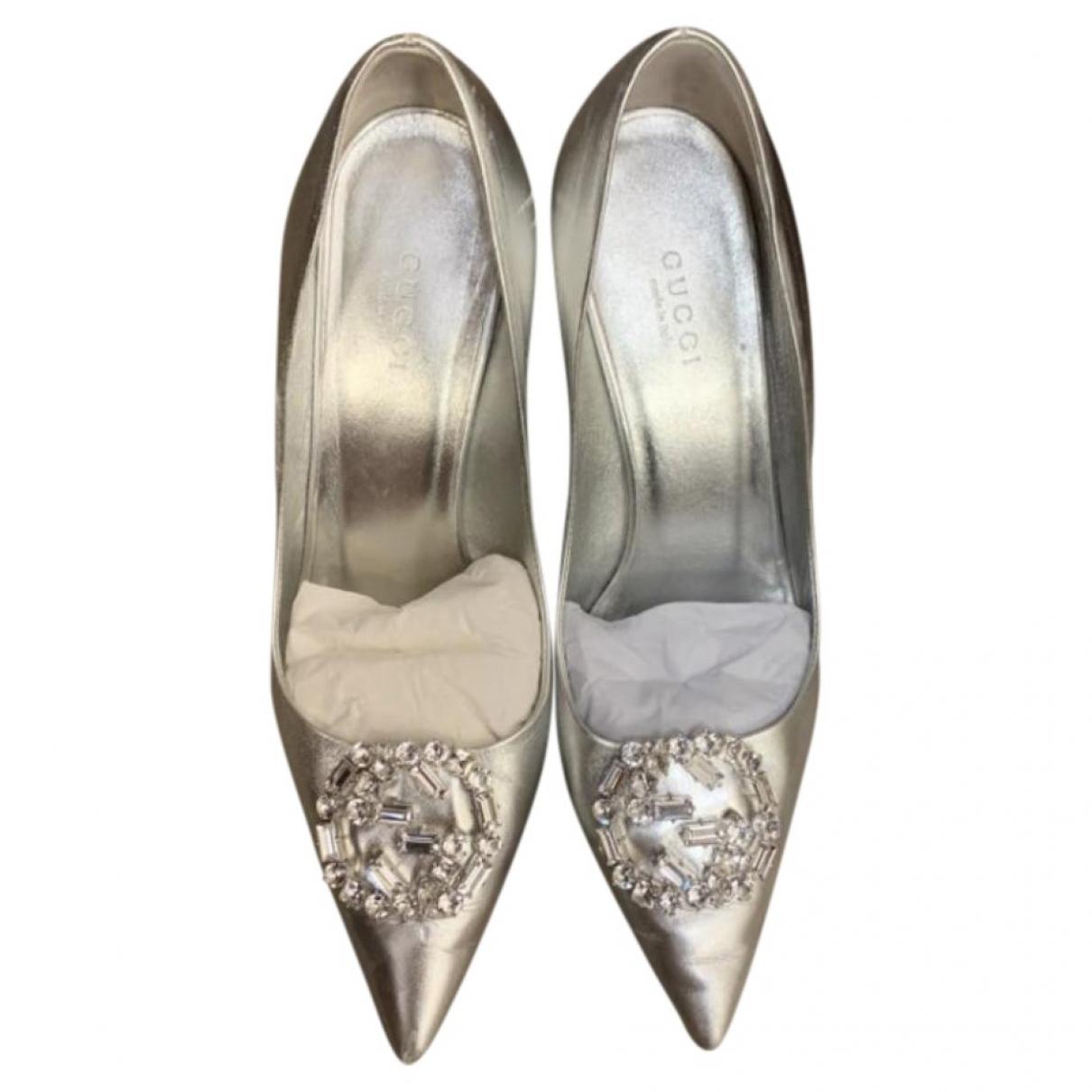 Gucci \N Silver Leather Heels for Women 36 EU