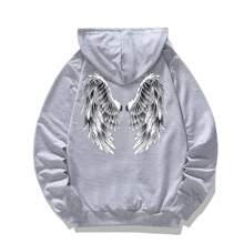 Men Wings Print Drawstring Hoodie