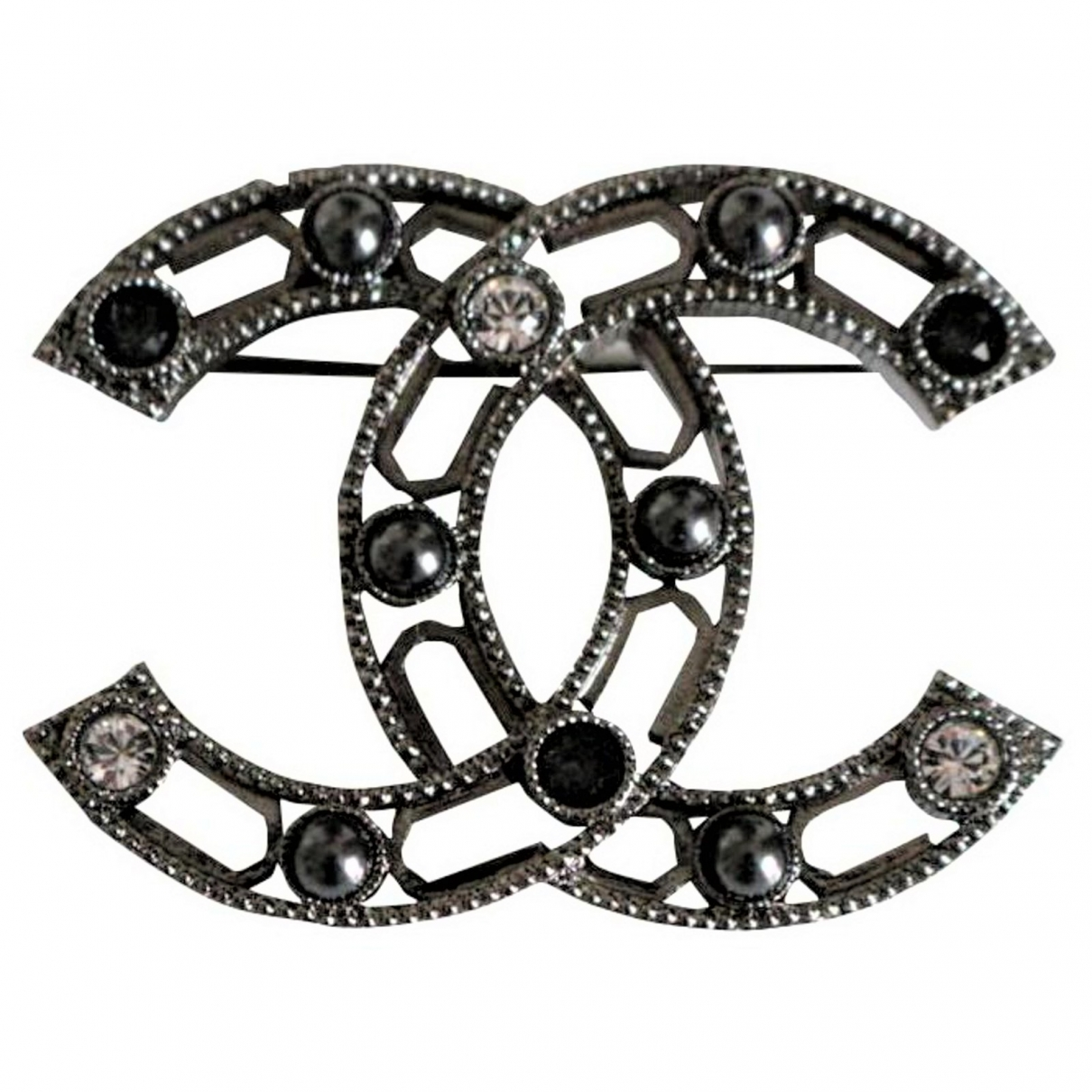 Broche CC en Metal Antracita Chanel