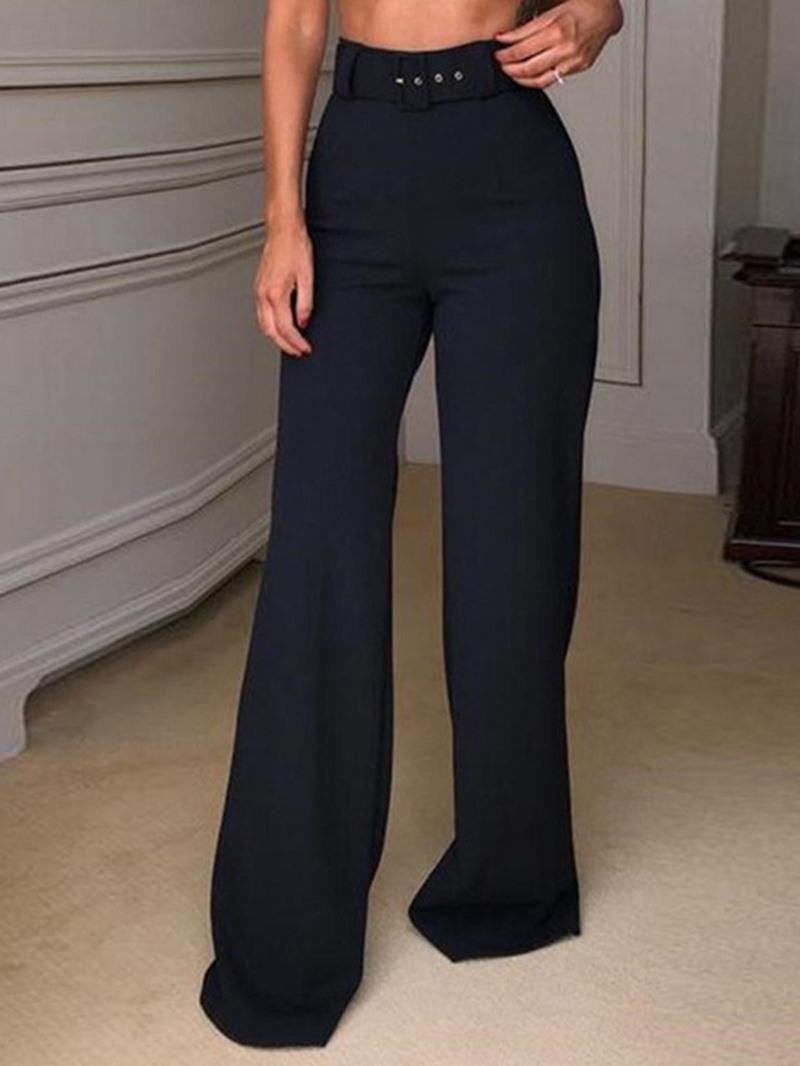 Ericdress Plain Belt Loose Plain Full Length Straight Casual Pants