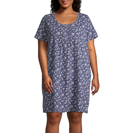 Adonna Womens Nightgown Short Sleeve Scoop Neck, 2x , Multiple Colors