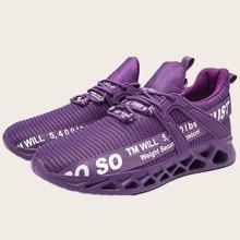 Zapatillas deportivas gruesas de hombres tejidas con estampado de letra