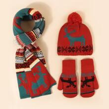 Christmas Pattern Gloves & Scarf & Beanie