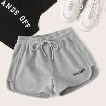 Plus Letter Embroidery Drawstring Dolphin Shorts