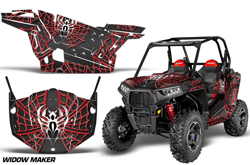 AMR Racing  Full Custom UTV Graphics Decal Kit Wrap Widow Maker Red Polaris RZR S 900 15-16