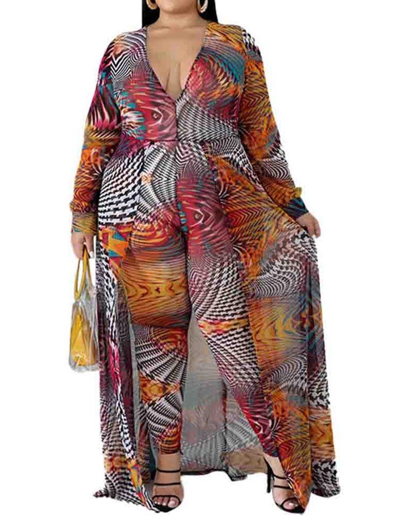 Ericdress Plus Size Color Block Full Length Loose Jumpsuit