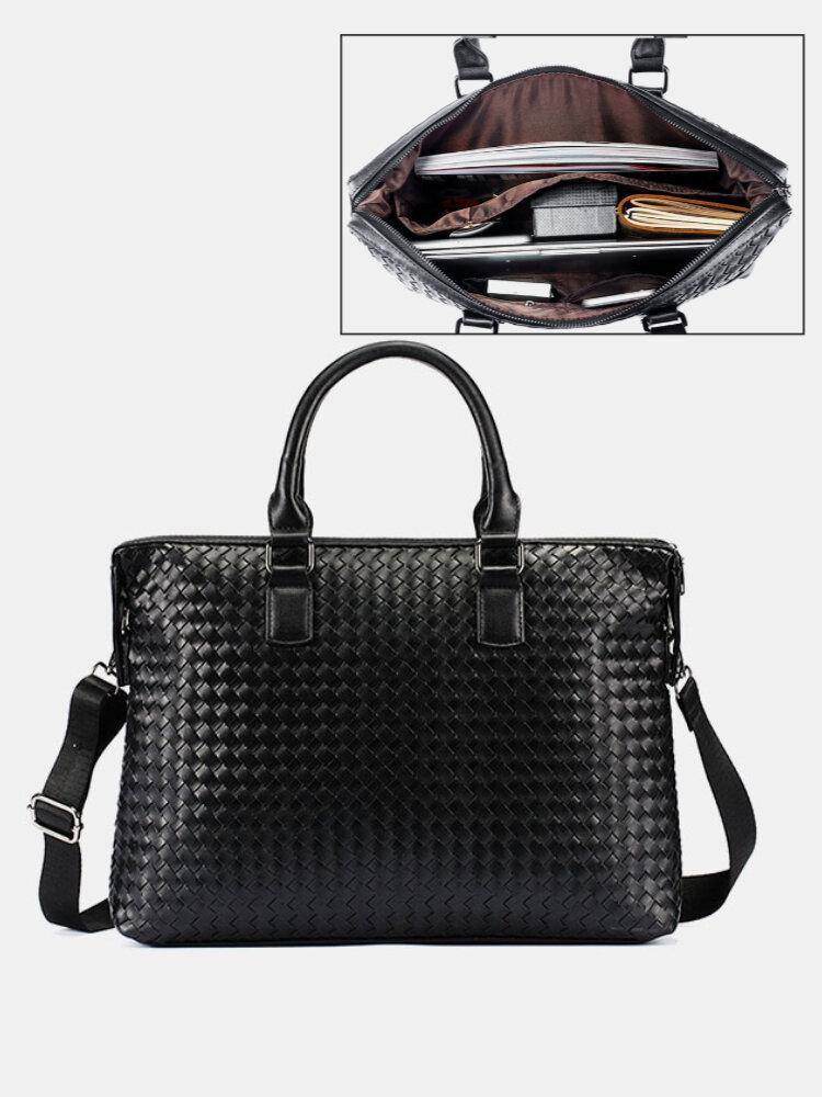 Men 14 Inch Laptop Bag Briefcase Business Handbag Crossbody Bag