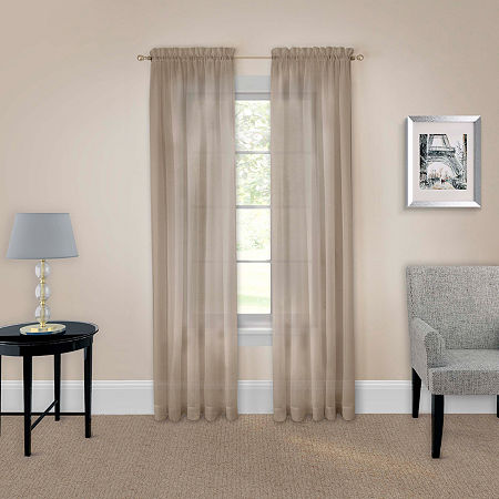 Pairs To Go Victoria Voile Sheer Rod-Pocket Set of 2 Curtain Panel, One Size , Brown