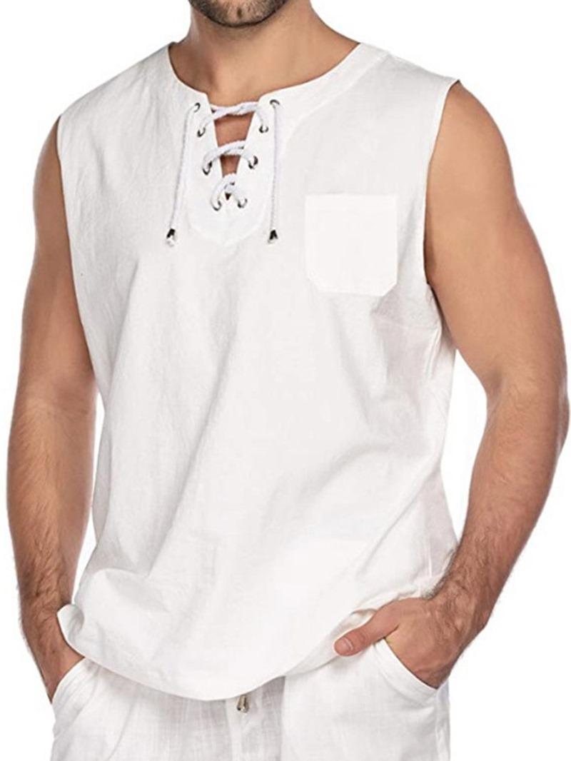 Ericdress Plain Pocket Loose Casual Men's Vest