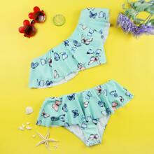 Bikini Badeanzug mit Schmetterling Muster, Ruesche und einer Schulter