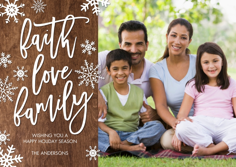 Christmas Photo Cards 5x7 Cards, Premium Cardstock 120lb with Rounded Corners, Card & Stationery -Christmas Faith Love Family by Tumbalina