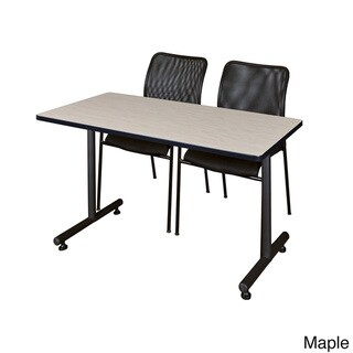 Kobe Black 42-inch x 24-inch Training Table and 2 Mario Stack Chairs (Maple)