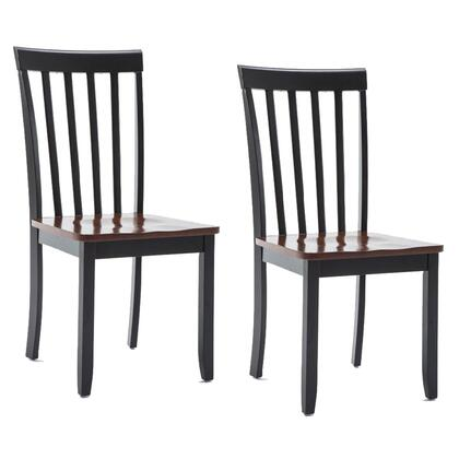 BM183350 Wooden Seat Dining Chair with Slatted Backrest  Set of 2  Brown and