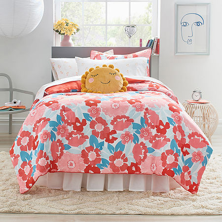 Frank And Lulu Maeve Floral Midweight Comforter Set, One Size , Pink