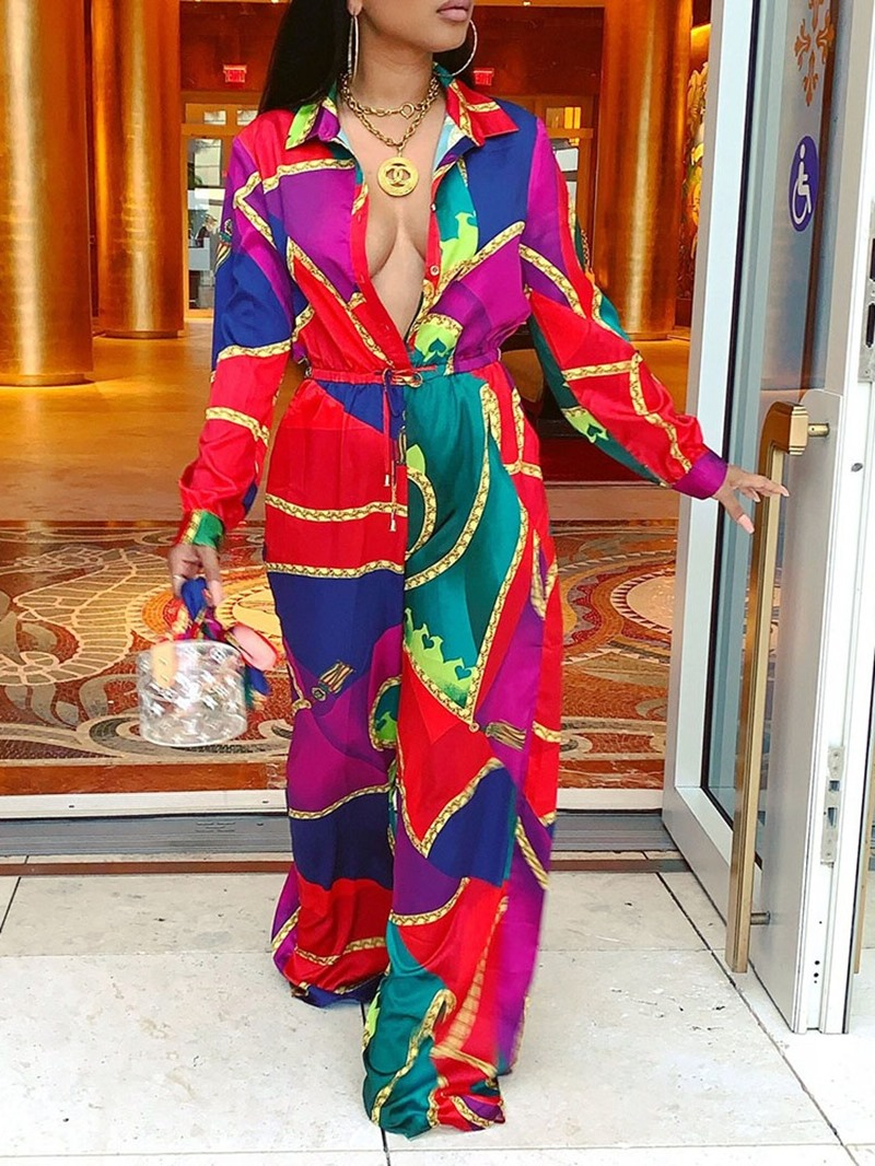 Ericdress African Fashion Punk Color Block Print Loose Jumpsuit