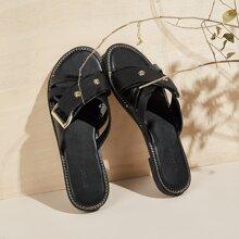 Cross Strap Slide Sandals