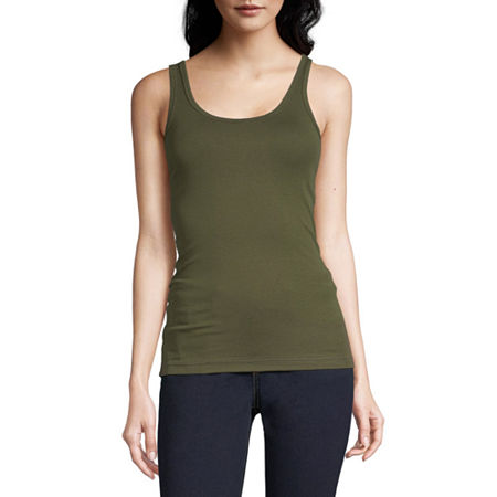 a.n.a Womens Scoop Neck Sleeveless Tank Top, Large , Green