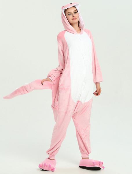 Milanoo Disfraz Halloween Dinosaurio Onesie Kigurumi Adultos Unisex Pink Jumpsuit Halloween Carnaval Halloween