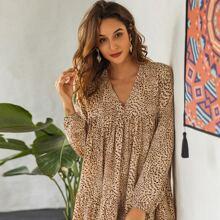 Babydoll Kleid mit Gepard Muster und V Kragen