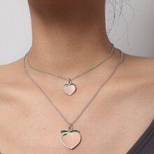 Peach Decor Layered Necklace