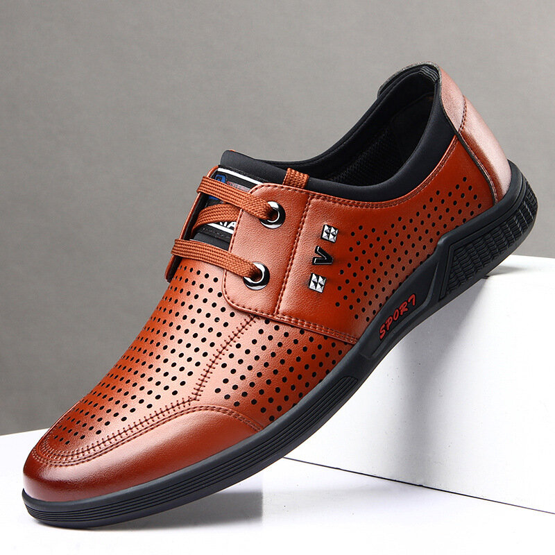 Men Round Toe Business Casual Breathable Hole Leather Shoes
