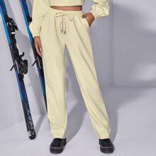 Drawstring Waist Pocket Side Pants