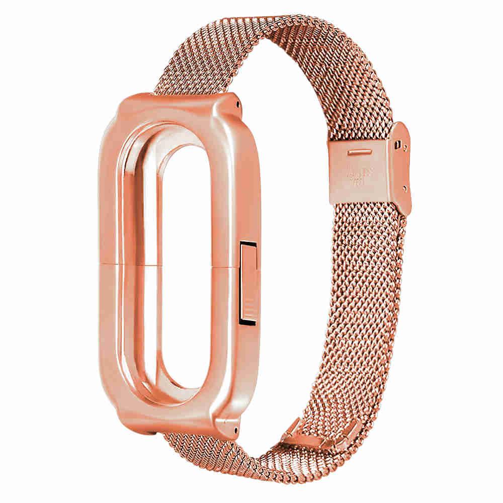 Replaceable Steel Wrist Strap For Xiaomi Mi Band 3 Smart Bracelet - Gold