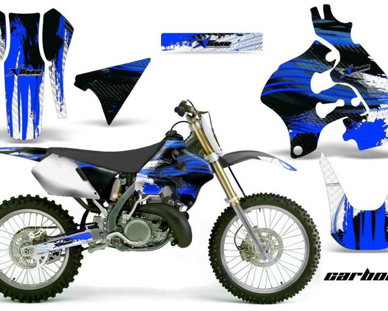 AMR Racing Dirt Bike Graphics Kit Decal Sticker Wrap For Suzuki RM125 1996-1998 CARBONX BLUE