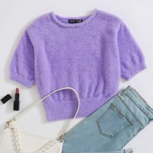 Solid Crop Fluffy Knit Top