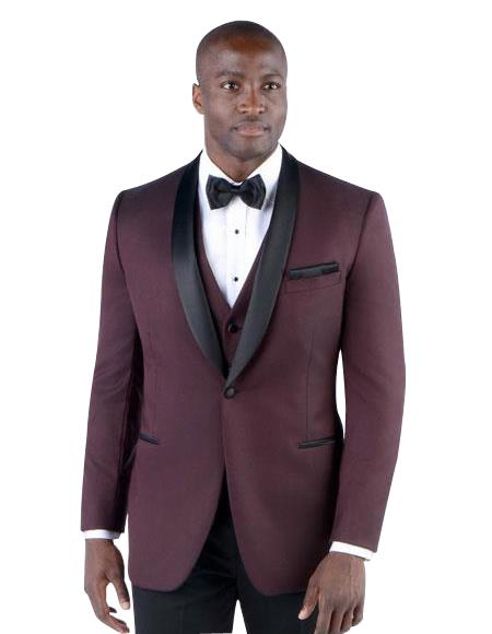 Men's 2 Button Slim Fit Single Breasted Burgundy Shawl Lapel Suit