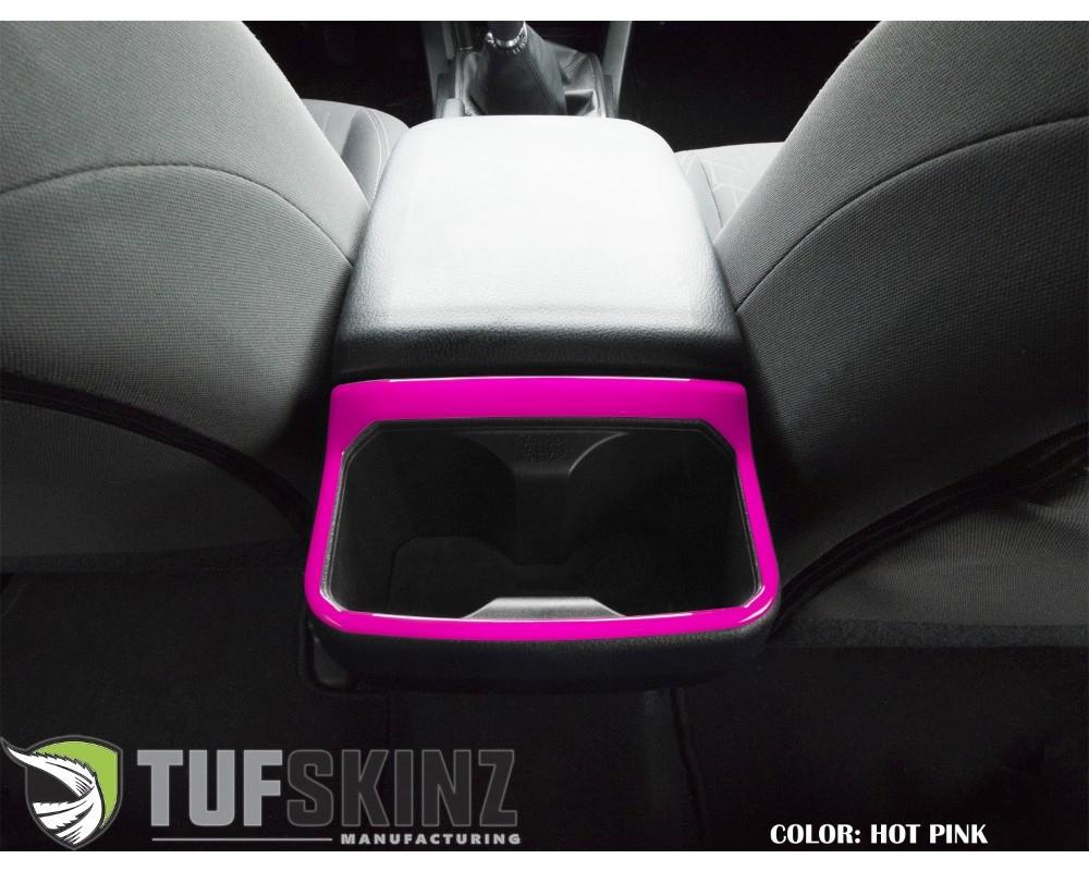 Tufskinz TAC042-HPK-G Rear Cup Holder Trim Fits 2016-2020 Toyota Tacoma 1 Piece Kit In Hot Pink