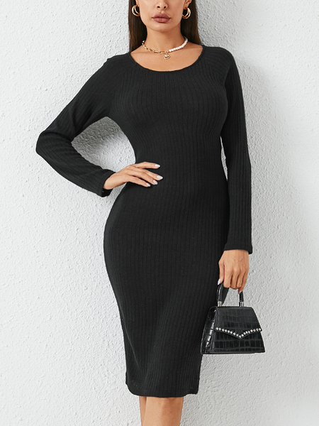 YOINS Black Backless Twist Design Long Sleeves Dress