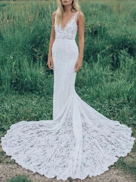 Milanoo Boho Wedding Dresses Mermaid V Neck Sleeveless Lace Beach Bridal Dress With Train
