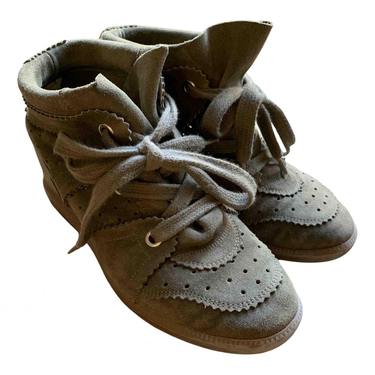 Isabel Marant Bobby Sneakers in  Khaki Leder