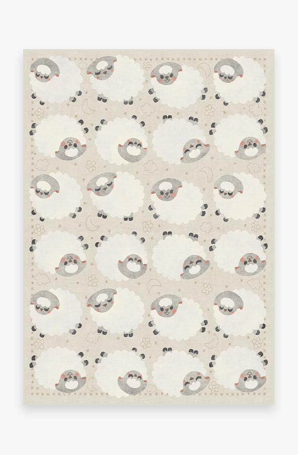 Washable Rug Cover | Sleepy Sheep Soft White Rug | Stain-Resistant | Ruggable | 5'x7'