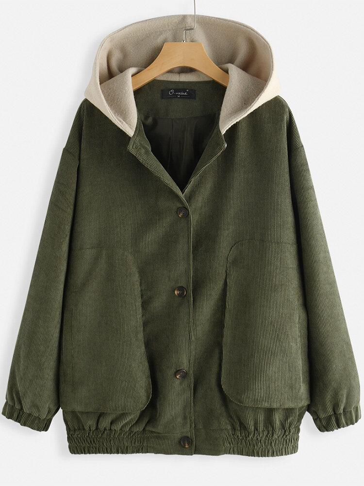 Corduroy Elastic Hem Long Sleeve Vintage Hooded Plus Size Jackets
