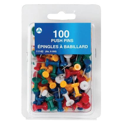 Westcott@ Push Pins, Plastic head, Box of 100 - Assorted