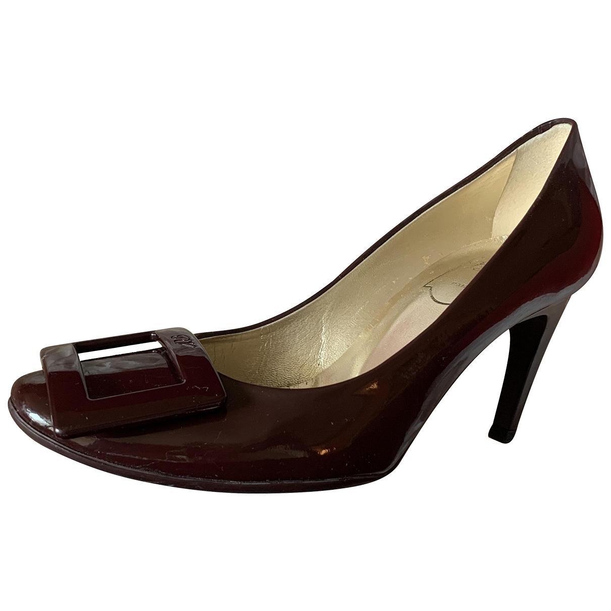 Roger Vivier Trompette Burgundy Leather Heels for Women 34 EU