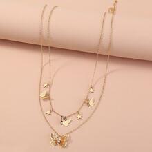 2 Stuecke Halskette mit Schmetterling Dekor und Quasten