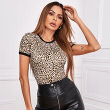 Ringer T-Shirt mit Leopard Muster