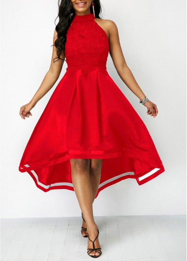 Christmas Rosewe Holiday Dress Lace Panel Wine Red Sleeveless High Low Dress - M